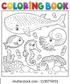 Coloring book sea life theme 2 - eps10 vector illustration.