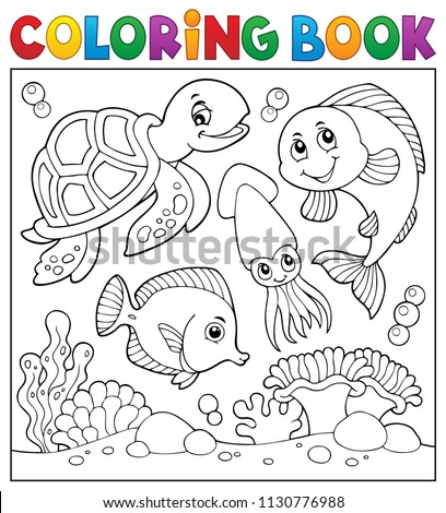 Coloring book sea life theme 1 - eps10 vector illustration.