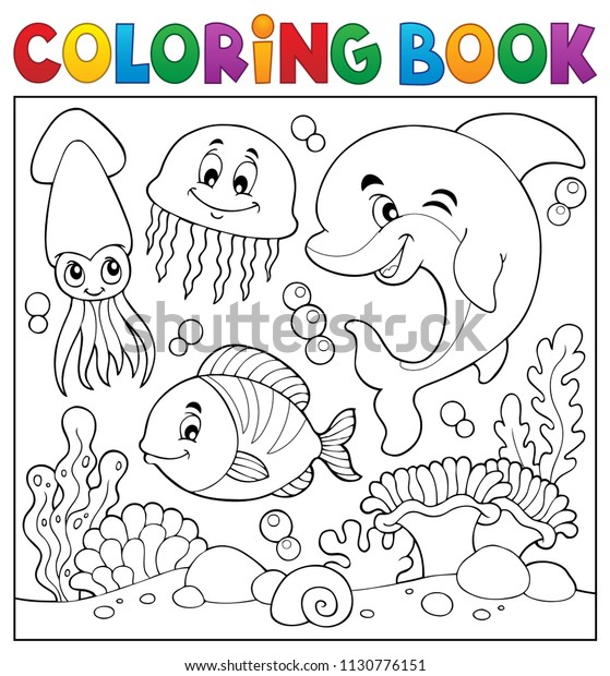 Coloring book sea life theme 7 - eps10 vector illustration.