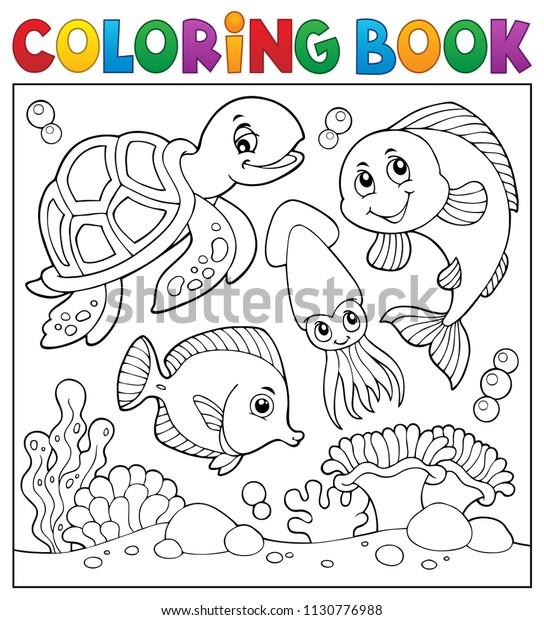 Coloring book sea life theme 1 - eps10 vector illustration.