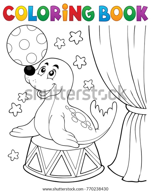 Coloring book seal playing with ball - eps10 vector illustration.