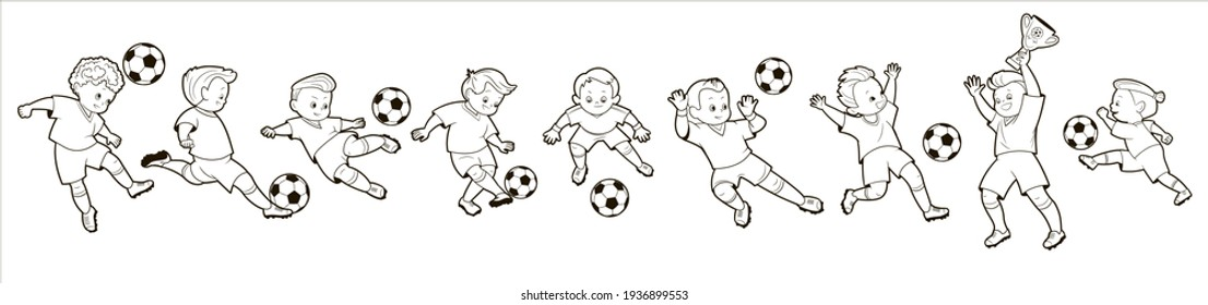 Coloring book; set of isolated images of boys soccer players in different poses playing a soccer ball. Vector illustration in cartoon style, black and white line art