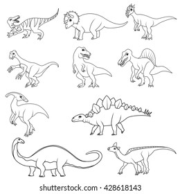Coloring book: Set of ten different dinosaurs