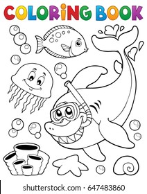 Coloring book with shark snorkel diver - eps10 vector illustration.