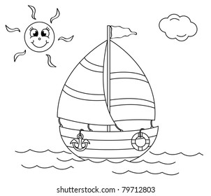 boats black and white stock vectors images vector art shutterstock Otter Raft coloring book with ship vector illustration