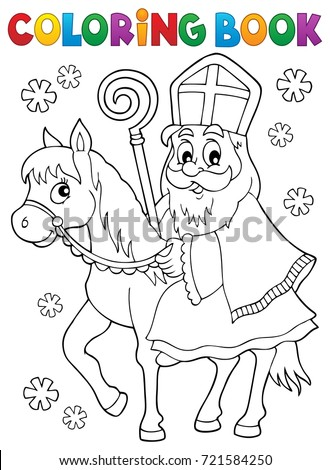 Coloring book Sinterklaas on horse - eps10 vector illustration.