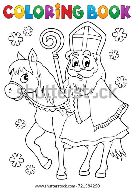 Coloring book Sinterklaas on horse - eps10 vector illustration.