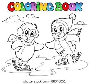Coloring book skating penguins - vector illustration.