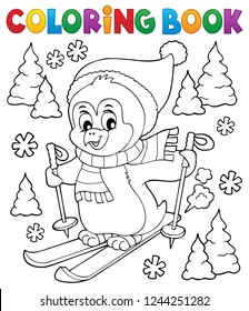 Coloring book skiing penguin theme 1 - eps10 vector illustration.