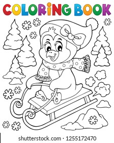 Coloring book sledging penguin theme 2 - eps10 vector illustration.