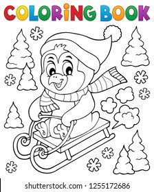 Coloring book sledging penguin theme 1 - eps10 vector illustration.