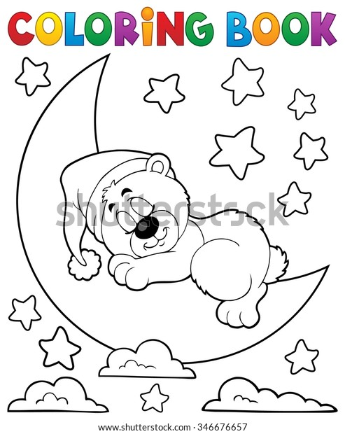 Coloring book sleeping bear theme 2 - eps10 vector illustration.