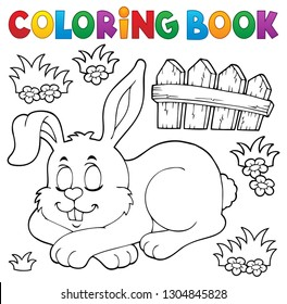 Coloring book sleeping bunny theme 1 - eps10 vector illustration.