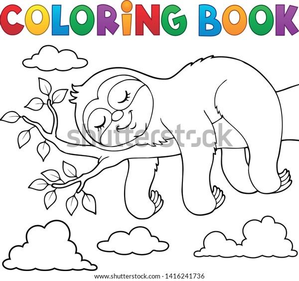 Coloring book sleeping sloth theme 1 - eps10 vector illustration.