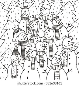coloring book snowman design for kids