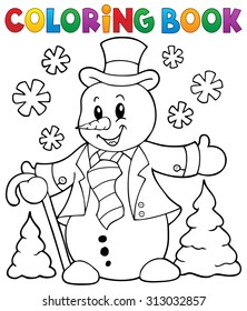 Coloring book snowman topic 1 - eps10 vector illustration.