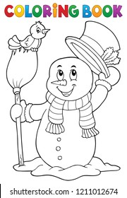 Coloring book snowman topic 4 - eps10 vector illustration.