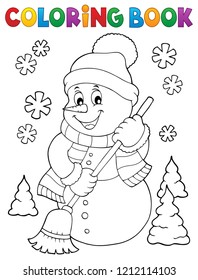 Coloring book snowman topic 5 - eps10 vector illustration.