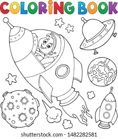 Coloring book space topic collection 1 - eps10 vector illustration.
