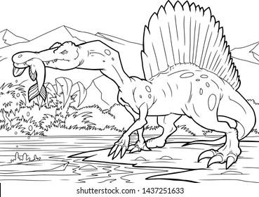 Coloring book, Spinosaurus dinosaur, coloring page