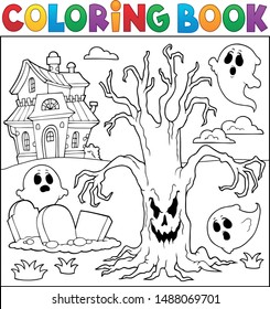 Coloring book spooky tree thematics 2 - eps10 vector illustration.