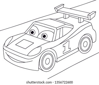 Coloring book sport car isolated on white background. Anti stress ilustration for kids with automobile