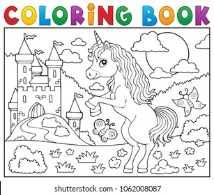 Coloring book standing unicorn theme 2 - eps10 vector illustration.
