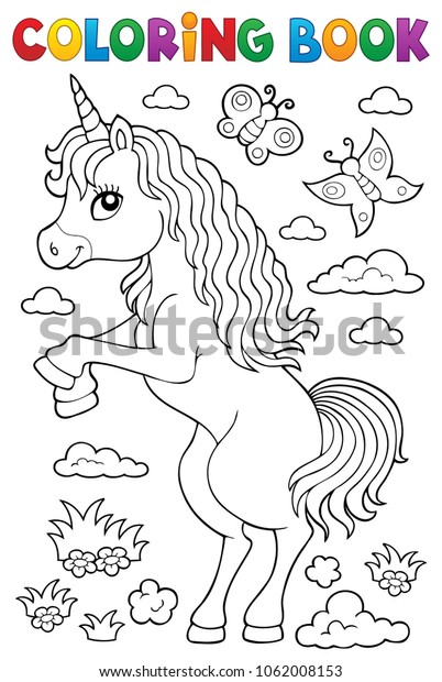 Coloring book standing unicorn theme 1 - eps10 vector illustration.