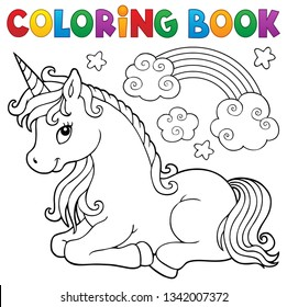 Coloring book stylized unicorn theme 1 - eps10 vector illustration.
