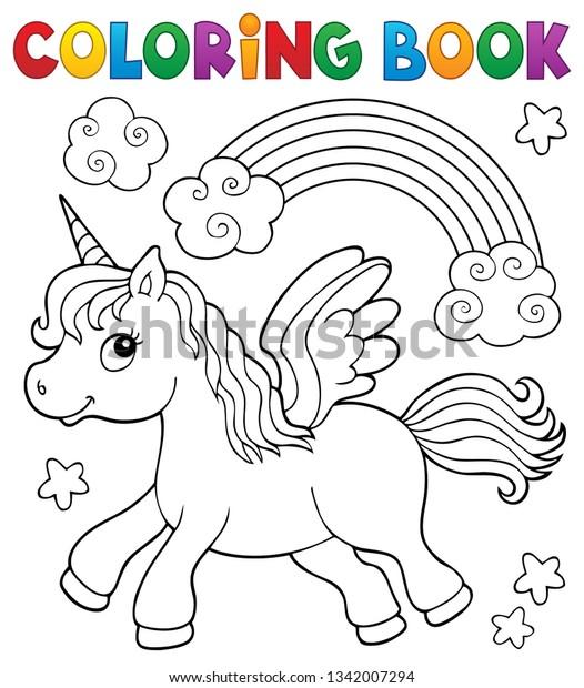 Coloring book stylized unicorn theme 2 - eps10 vector illustration.