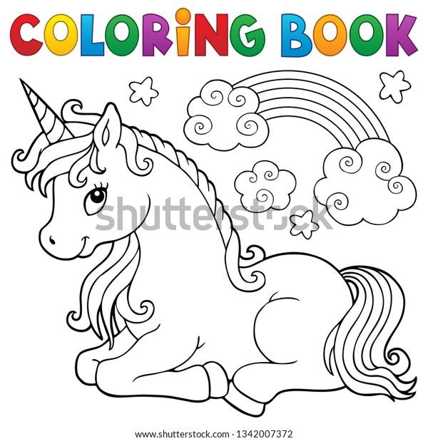 Coloring book stylized unicorn theme 1 - eps10 vector illustration.