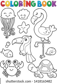 Coloring book summer animals theme set 1 - eps10 vector illustration.