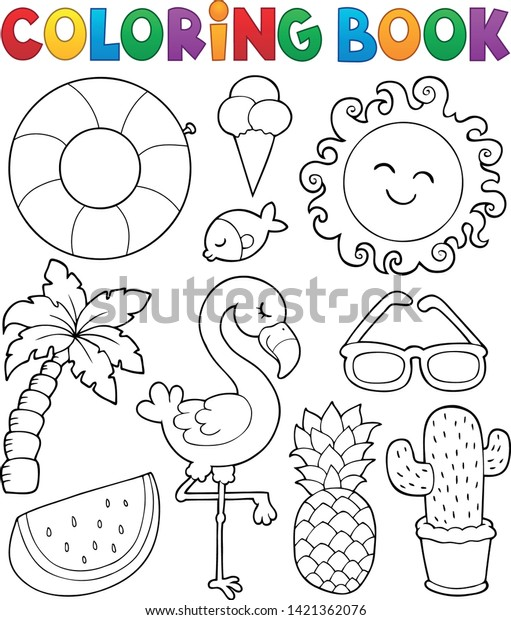 Coloring book summer theme collection 1 - eps10 vector illustration.