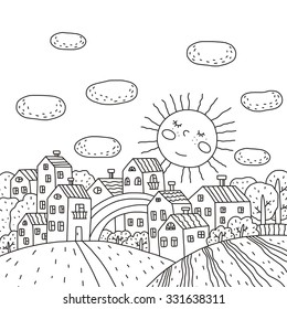 coloring book sunny city design for kids