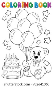 Coloring book teddy bear theme 4 - eps10 vector illustration.