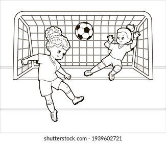 Coloring book: Teenage girls play soccer with their heads hitting a soccer ball into the goal. Vector illustration in cartoon style, isolated black and white line art.