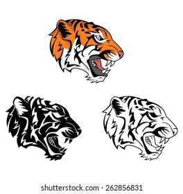 Coloring book Tiger Face cartoon character
