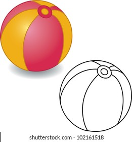Coloring book. Toy ball vector illustration. Isolated on white.