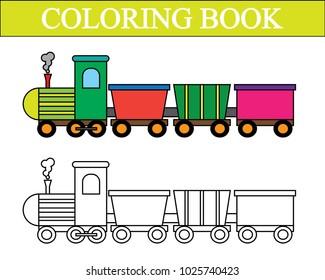 Coloring book. Train cartoon. Vector illustration.
