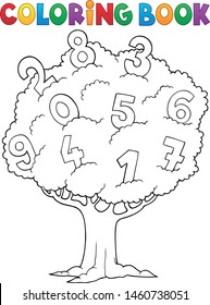 Coloring book tree with numbers theme 1 - eps10 vector illustration.