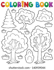 Coloring book tree theme 1 - eps10 vector illustration.