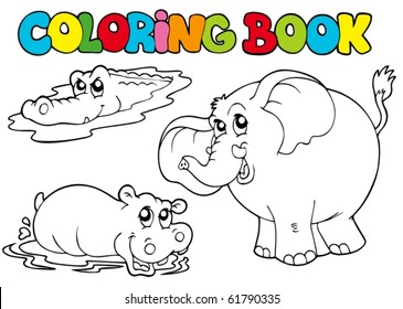 Coloring book with tropic animals 1 - vector illustration.