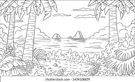 Coloring book tropical landscape. Hand draw vector illustration with separate layers.