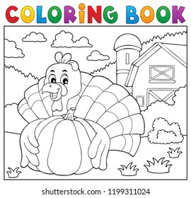Coloring book turkey bird and pumpkin 2 - eps10 vector illustration.
