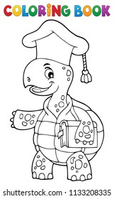 Coloring book turtle teacher theme 1 - eps10 vector illustration.