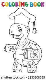 Coloring book turtle teacher theme 1 - eps10 vector illustration.