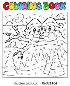 Coloring book two winter birds - vector illustration.