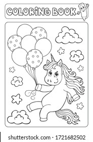 Coloring book unicorn with balloons 1 - eps10 vector illustration.
