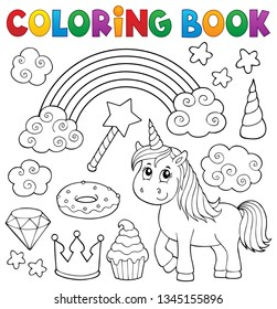 Coloring book unicorn and objects 1 - eps10 vector illustration.