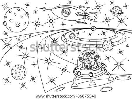 Coloring Book Universe Vector Illustration Stock Vector Royalty